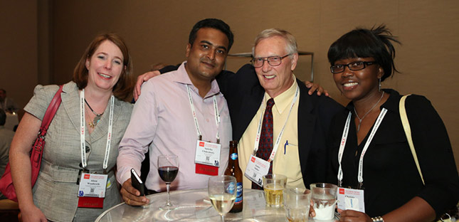 Clinical laboratory professionals enjoying member benefits of AACC