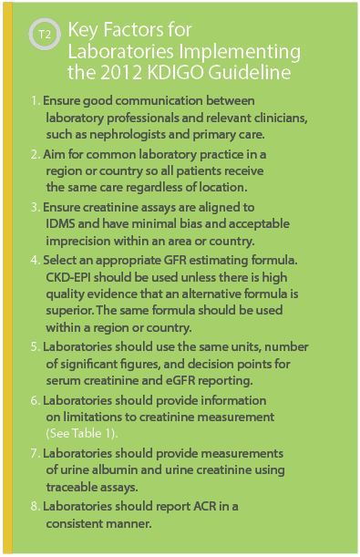 Key Factors for Laboratories Implementing the 2012 KDIGO Guideline