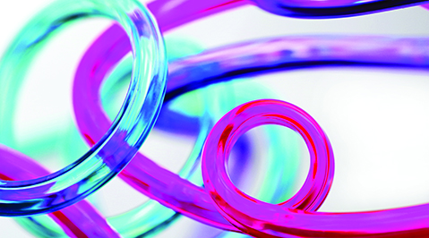 Pink, purple, and blue spiral tubes