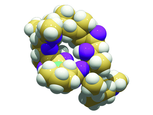 A yellow, white, purple, and green molecule