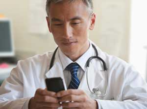 Doctor on smartphone