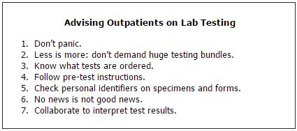 Advising Outpatients on Lab Testing