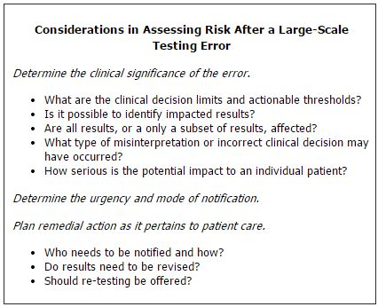 Considerations in Assessing Risk After a Large-Scale Testing Error