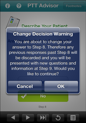 Change Decision Warning