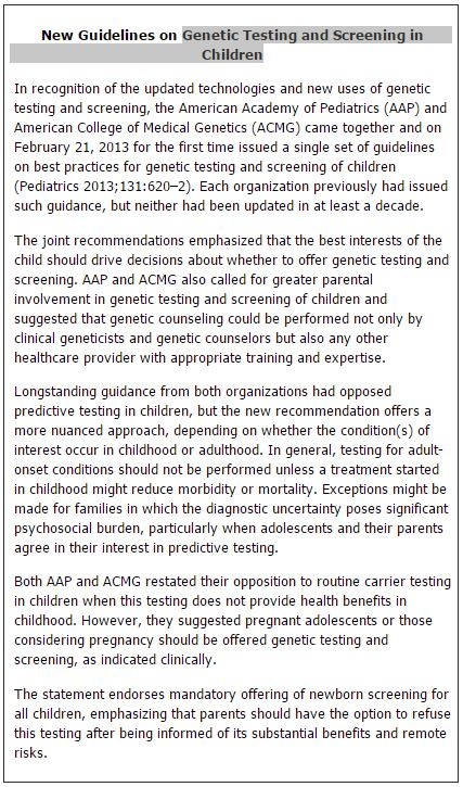 New Guidelines on Genetic Testing and Screening in Children