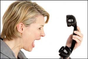 Woman shouting at phone