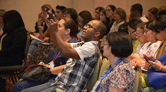 At a 2017 AACC workshop in Cali, Colombia, attendees listen to expert presentations on newborn screening in Latin America.